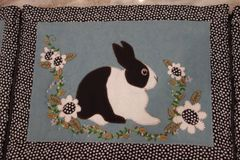 "#248 "" Dutches"" black and white rabbits tablerunner / placemats Kit"