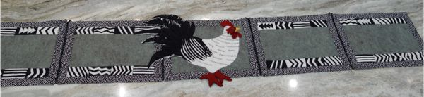 #247 Cock-a-doodle - doo zip- apart tablerunners into placemats