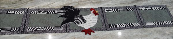 #247 Cock-a-doodle-doo zip apart tablerunnrs into placemats pattern