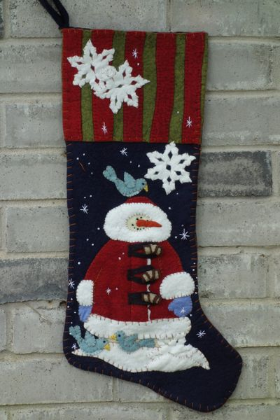 """#199 The Snowman pattern , makes 25"""" long stocking"""