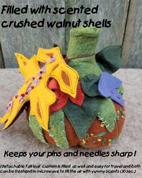 #239 Pumpkin Pincushion and Fall Leaf Needle cushion kit