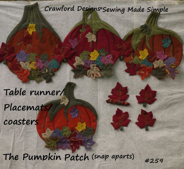 #259 The Pumpkin Patch Snap - apart table runner / placemats / coasters