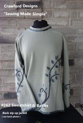 #262 Sweatshirt and batiks fitted back zip up jacket -make in 3 hours