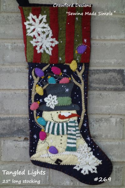"#269 Tangled Lights Pattern makes 25"" long stocking"