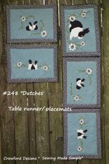 "#248 ""Dutches"" blackand white rabbits , zip- apart runner / tablemats"