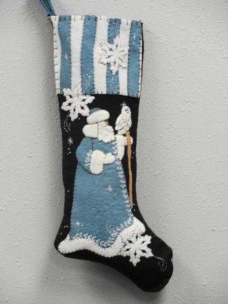 """Blue Santa , 25"""" long stocking , designed and made by hand by Barbara Crawford of Crawford Designs"""