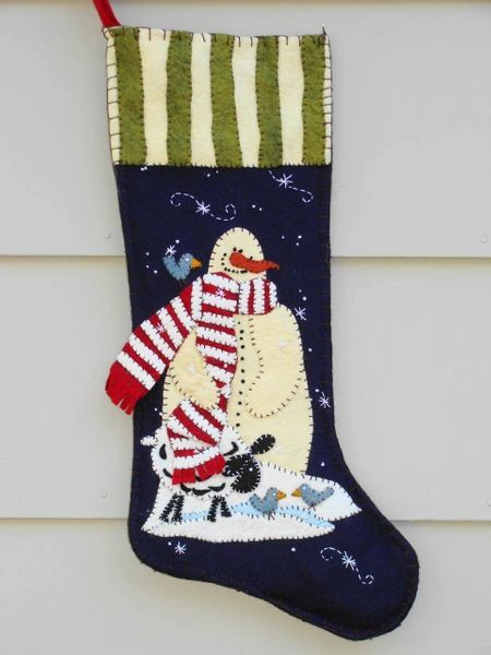 """Charley and friends 25"""" long Stocking , designed and made by hand by Barbara Crawford of Crawford Designs"""