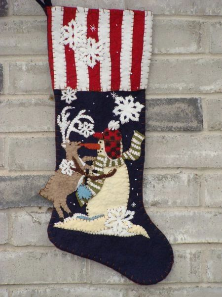 """Got your Nose , 25"""" long stocking , designed and made by hand by Barbara Crawford of Crawford Designs"""