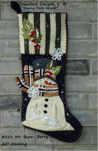 """Mr. Burr-Berry 25"""" long stocking designed and handmade by Barbara Crawford of Crawford Designs"""