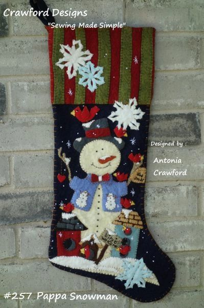 """Pappa Snowman 25"""" long stocking designed and handmade by Barbara Crawford of Crawford Designs"""