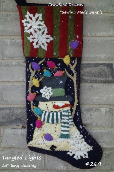"""Tangled Lights 25"""" long stocking designed and handmade by Barbara Crawford of Crawford Designs"""