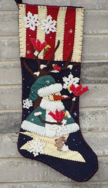 "Winterland 25"" long stocking designed and handmade by Barbara Crawford of Crawford Designs"