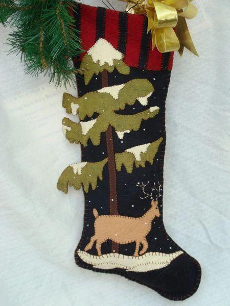 "Woodland 25"" long stocking designed and handmade by Barbara Crawford of Crawford Designs"
