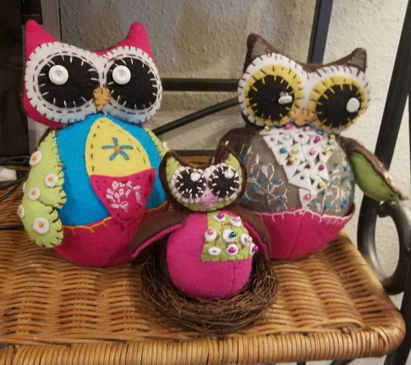Family of owls , pincushions or shelf sitters , they are really cute