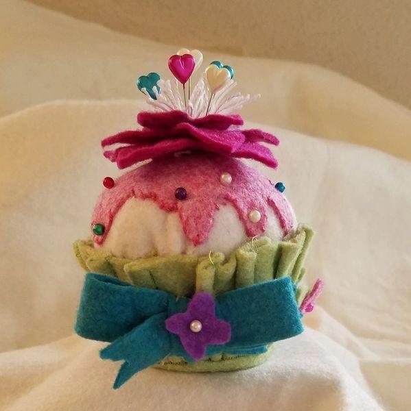 Rose Petals cupcake pincushion , size of an actual cupcake !