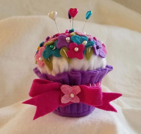 Pocket full of posies pincushion cupcake the size of an actual cupcake ~