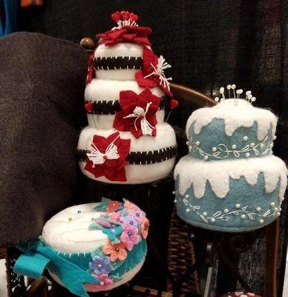 Christmas poinsiettas triple decker holiday cake pincushion