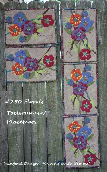 #250 Florals zip apart Tablerunner into placemats pattern