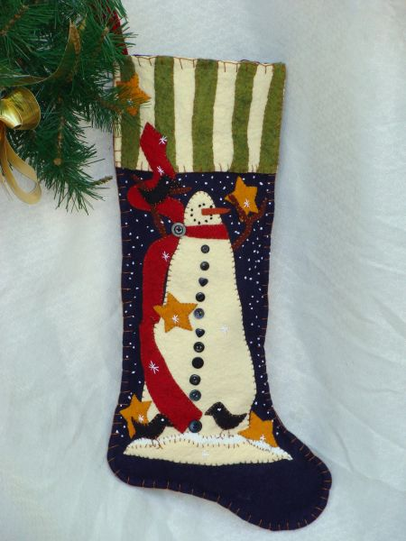 "#171 ""Starry Night"" snowman 25"" long stocking pattern"