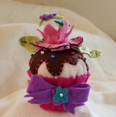 #236 Rose Petals Cupcake pincushion