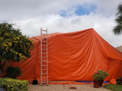 House being tented for termites.