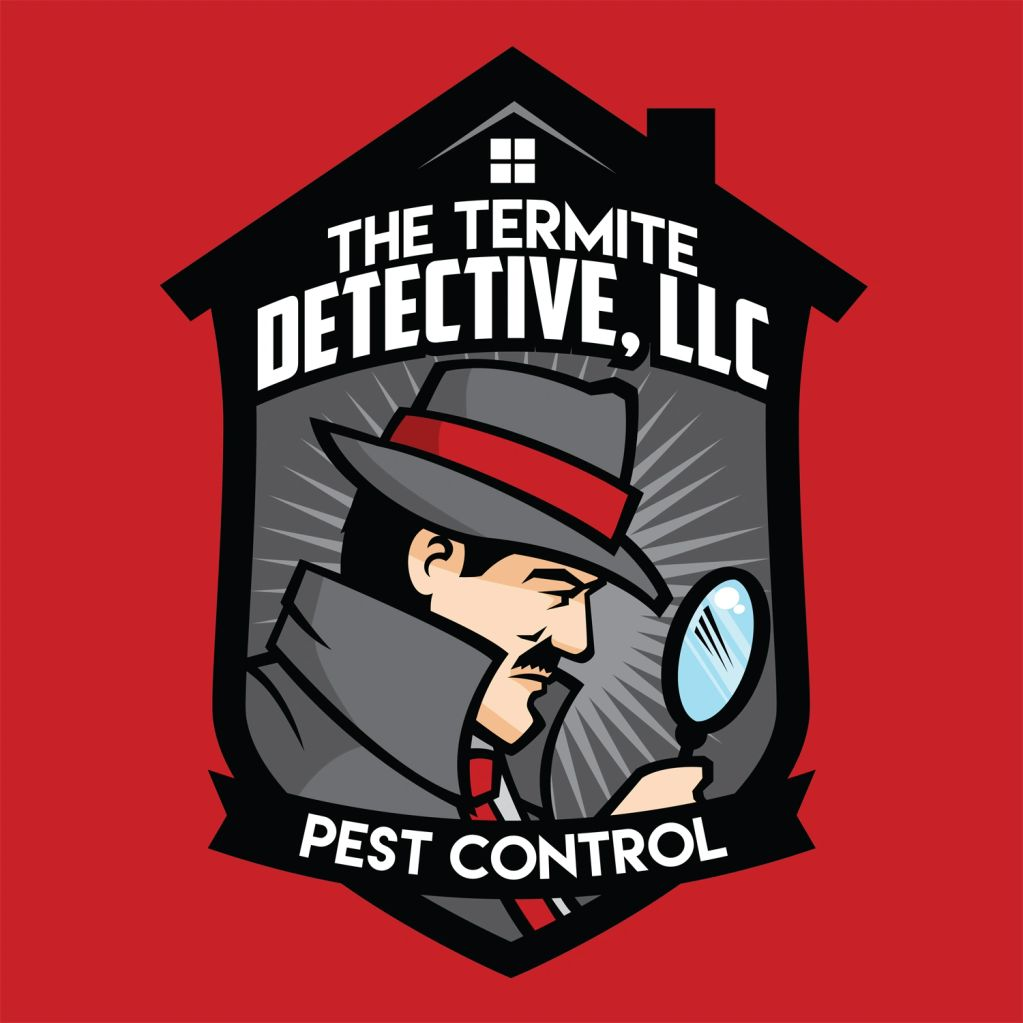 The Termite Detective, LLC logo of a private investigator with a magnifying glass.