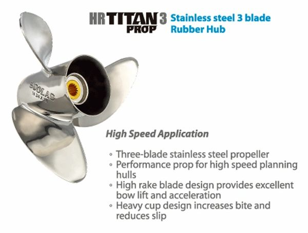 Honda Outboard Propeller 115-300 New Saturn 3 Blade Stainless / Available  Sizes (1531-156-11) (1531-156-13) (1532-156-13)