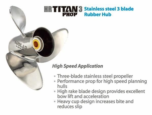 Honda Outboard Propeller 75-130 hp  HRTitan 3 Blade Stainless Propeller  /  Available Sizes (1441-138-13) (1441-138-15) (1441-133-17) (1441-133-19)