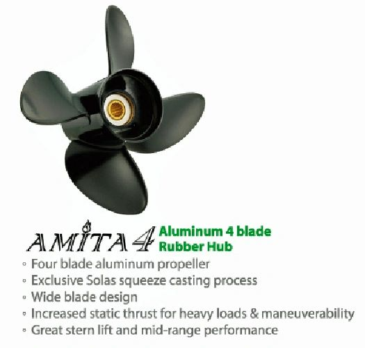 Yamaha Outboard Propeller 20-30 hp  New Saturn 4 Blade Stailess / Available  Sizes (3233-100-09) (3233-100-10)