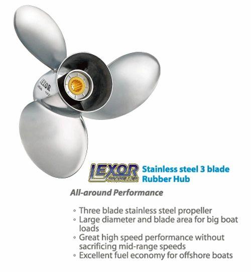 Johnson Outboard Propeller Lexor 3 Blade Stainless 90-300 hp  (4571-158-15)  (4571-156-16) (4571-155-17) (4571-154-18) (4571-153-19) (4571-151-20)