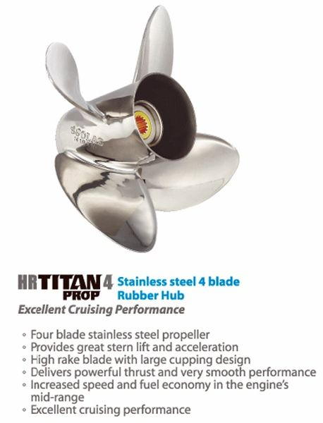 Suzuki Outboard Propeller 60-140 hp  HR Titan 4 Blade Stainless / Available  Sizes (4453-135-13) (4453-133-15) (4453-130-17) (4453-130-19)