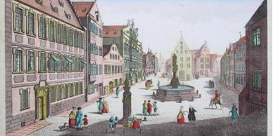 a view of Augsburg in the late 18th century