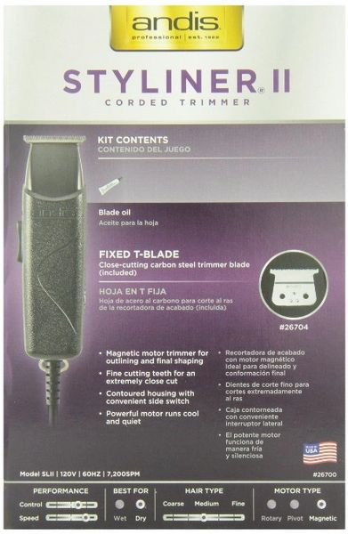 Andis Professional Styliner II Personal Trimmer, Black (26700)