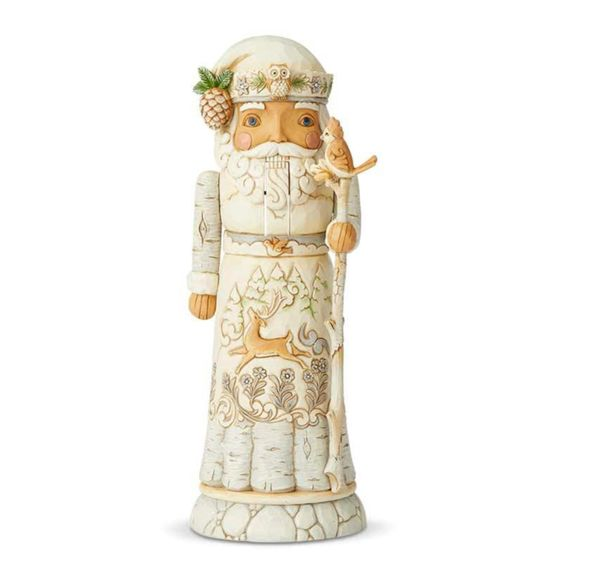"""Woodland Festivities"" - White Woodland Santa Nutcracker"