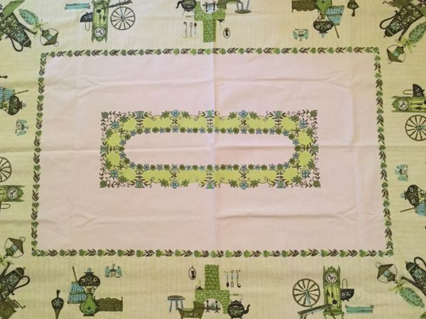 Vintage Printed Tablecloth - Spinning Wheels and Clocks