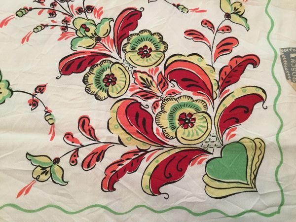 Vintage Printed Tablecloth - Floral with Tag