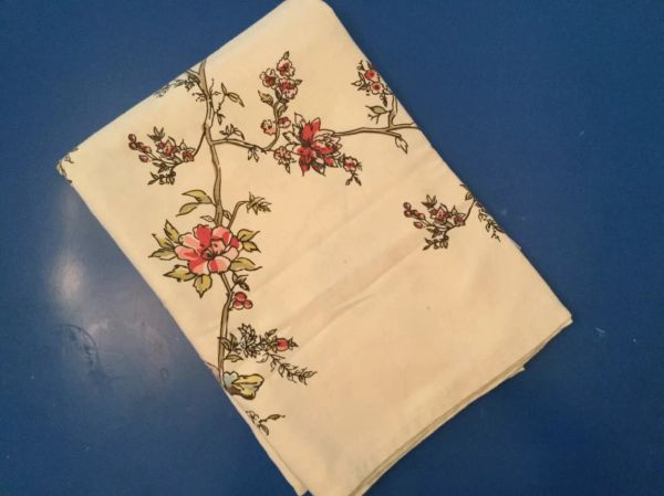 Vintage Printed Tablecloth - Floral with Blue Birds