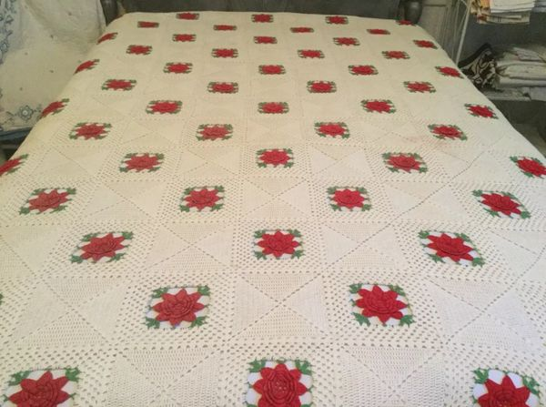 Vintage Afghan with Red Roses