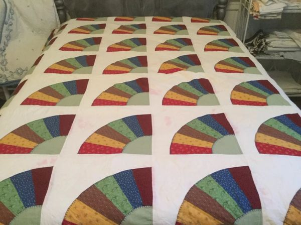 Handmade Quilt with Fans