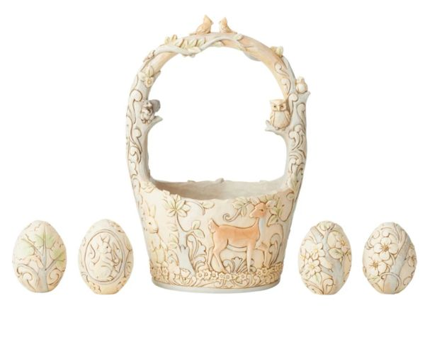 Signed Jim Shore White Woodland Basket with 4 Eggs