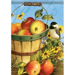 GARDEN FLAG-CHICKADEES & APPLE