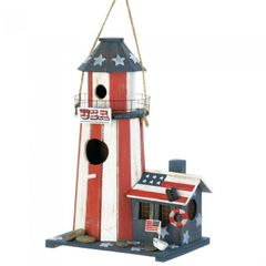 Patriotic Lighthouse Bird House