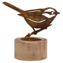 "Rusty Bird Tealight Holder, 4"""