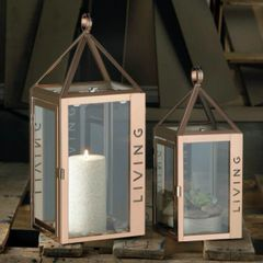 Stainless Steel Rose LIVING Candle Lantern - 17.5 inches
