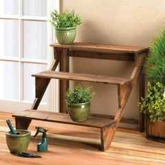 Wood Staircase Plant Stand or Display Shelves