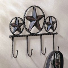 Metal Texas Star Wall Hook Set