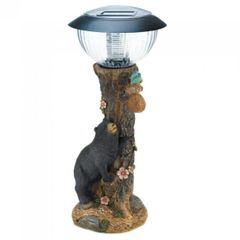 Solar Path Light with Black Bear and Tree Trunk