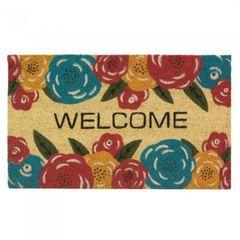 Multi-Color Floral Coir Welcome Mat