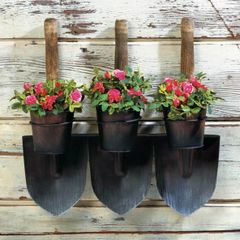 Three Shovels Rustic Wall-Mounted Planter