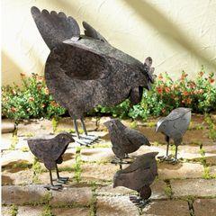 Rusted Metal Hen Family Garden Art